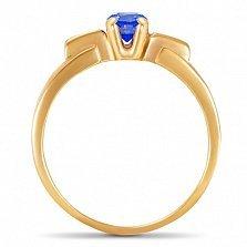 Золотое кольцо Иллюзорность очарования с синтезированным сапфиром