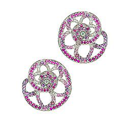 Золотые серьги с родолитом, бриллиантами, рубинами и сапфирами День третий 000029565