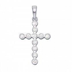 Декоративный крестик из белого золота с фианитами 000130941