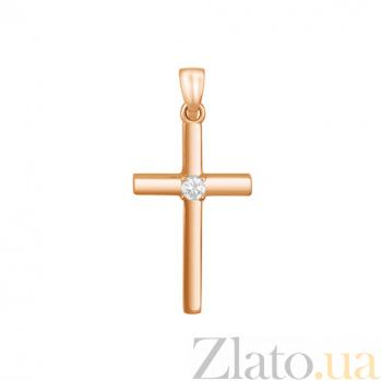 Крестик в красном золоте Поклонение с бриллиантом 000015943
