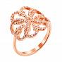 Золотое кольцо Узорный цветок в красном цвете с фианитами
