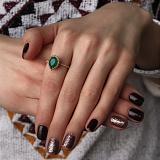 Золотое кольцо Юджиния с зеленым агатом