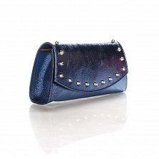 Кожаный клатч Genuine Leather 1692 синего цвета с декоративными элементами и цепочкой