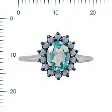 Серебряное кольцо Стефани с топазом и голубыми фианитами