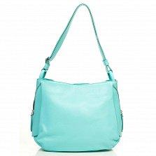 Кожаная сумка на каждый день Genuine Leather 8948 бирюзового цвета с декоративной молнией на торце