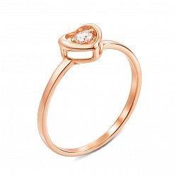 Кольцо из красного золота с фианитом 000134090