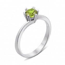 Серебряное кольцо с хризолитом 000134425