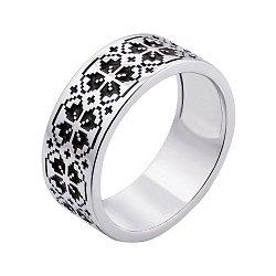 Серебряное кольцо с черной эмалью 000133338