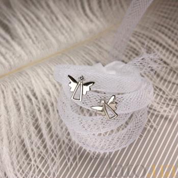 Золотые сережки-пуссеты Ангельский свет в белом цвете 000032909