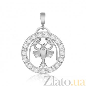 Серебряный подвес с кристаллами циркония Рак  000025316