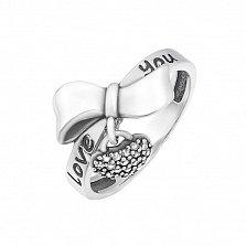 Серебряное кольцо Love you с белыми фианитами