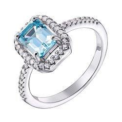 Серебряное кольцо с топазом swiss и фианитами 000133831