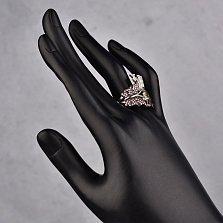 Серебряное кольцо Летние бабочки с усыпкой из розовых, белых фианитов и цвета шампань