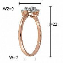 Кольцо Клодетт  из комбинированного золота с бриллиантом