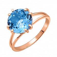 Золотое кольцо Бернадет в красном цвете с голубым кварцем