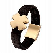 Кожаное кольцо Клевер в желтом золоте