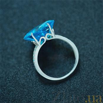 Серебряное кольцо с голубыми топазами Эрато 000030666