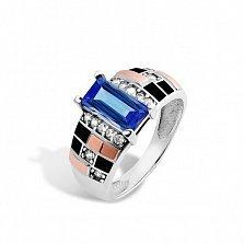 Серебряное кольцо Ираида с золотыми накладками, синим и белыми фианитами, черной эмалью