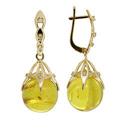 Золоті сережки-підвіски Марлен з бурштином і діамантами 000050807