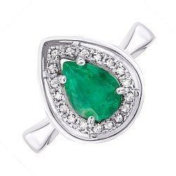 Серебряное кольцо с изумрудом и цирконием 000143490
