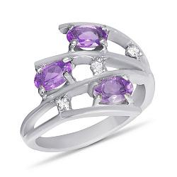 Золотое кольцо Третье измерение в белом цвете с аметистами и фианитами