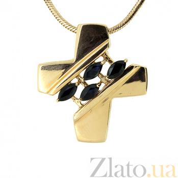 Золотой декоративный крест в красном цвете с сапфирами Слана 000021565