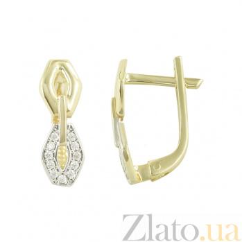 Золотые серьги с фианитами Звенья 2С765-0049