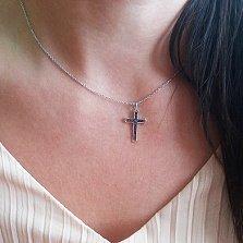 Крестик в белом золоте Исповедь с бриллиантами