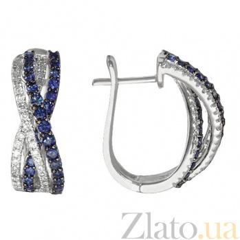 Золотые серьги Никта с бриллиантами и сапфирами KBL--С2479/бел/сапф