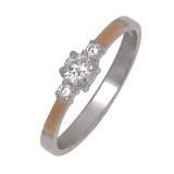 Серебряное кольцо Аккорд с золотой вставкой