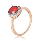 Позолоченное серебряное кольцо с красным фианитом Афсана