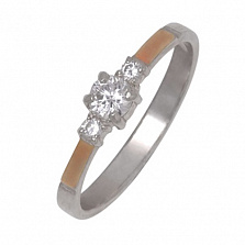Серебряное кольцо Аккорд с золотой вставкой и фианитами