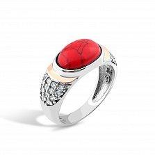 Серебряное кольцо Джастина с золотой накладкой, яшмой и фианитами