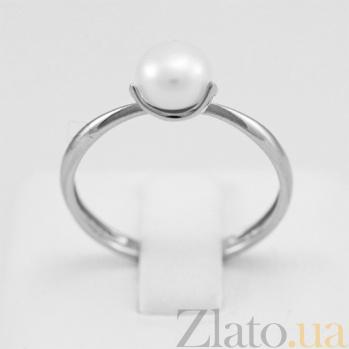 Кольцо из белого золота Лотос с жемчугом 000024351