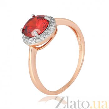 Позолоченное серебряное кольцо Рашель с фианитом цвета граната 000028425