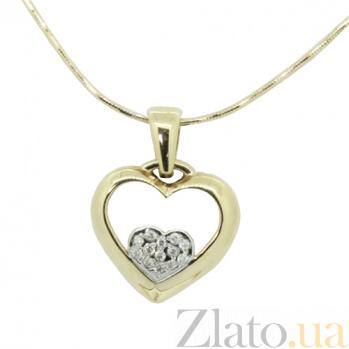 Золотой подвес Сияние сердца с бриллиантами 000021688
