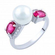 Серебряное кольцо Аделита с рубинами и фианитами