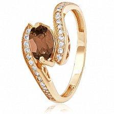 Золотое кольцо с раухтопазом и фианитами Аглая