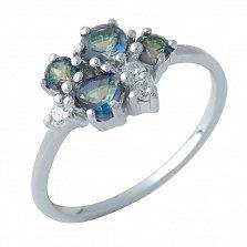 Серебряное кольцо Павлина с топазами мистик и фианитами