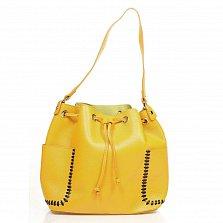 Кожаная сумка на каждый день Genuine Leather 8926 желтого цвета на кулиске, с нашивными карманчиками
