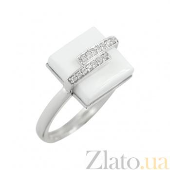 Золотое кольцо с белым агатом и бриллиантами Арктика 000026817