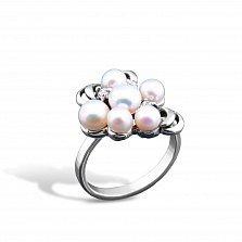 Серебряное кольцо Альвина с жемчугом и фианитами