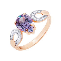 Золотое кольцо Рашель с александритом и фианитами