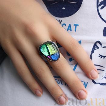 Серебряное кольцо с имитацией опала Морской пейзаж 000007025