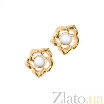 Золотые серьги с кахолонгом Amoroso 000029674