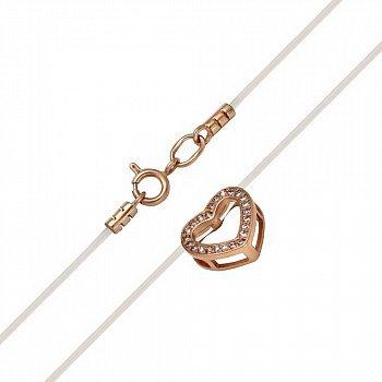 Колье на силиконовой нити в красном золоте с фианитами на сердце 000079839