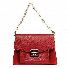 Кожаная деловая сумка 6574 красного цвета с механическим замком и ремнем через плечо