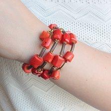 Спиральный браслет Осенние краски с кораллами