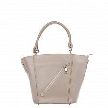 Кожаная сумка на каждый день Genuine Leather 8631 цвета тауп с косым замочком на лицевой стороне