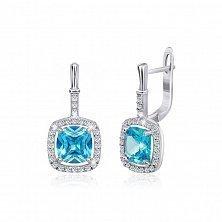 Серебряные серьги с голубыми фианитами Назира